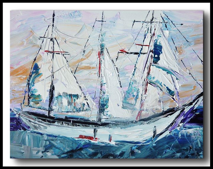 Szeretitek a hajókat? Én nagyon..! ⛵️⚓️ #szinesenfestek @eva_sarkozi.art #ship #blue #paint #art #artist #paint #painting #color #colors #homeart #artwork #water #sea #sold