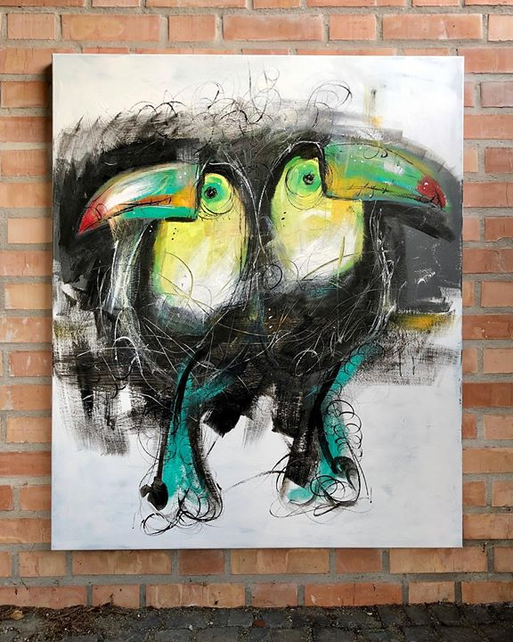 Tukán és Tukánné..  #szinesenfestek #bird #art #artist #paint #painting #color #colors #artwork #homeart #homedesigns #modern #modernart #animals