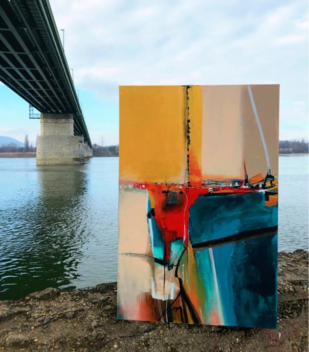 Művészet a szabadban..  #paintings #paint #art #artist #abstract #modernabstract #modern #color #colors #water #danube #bridge #szinesenfestek